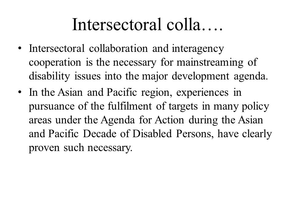 Intersectoral colla….