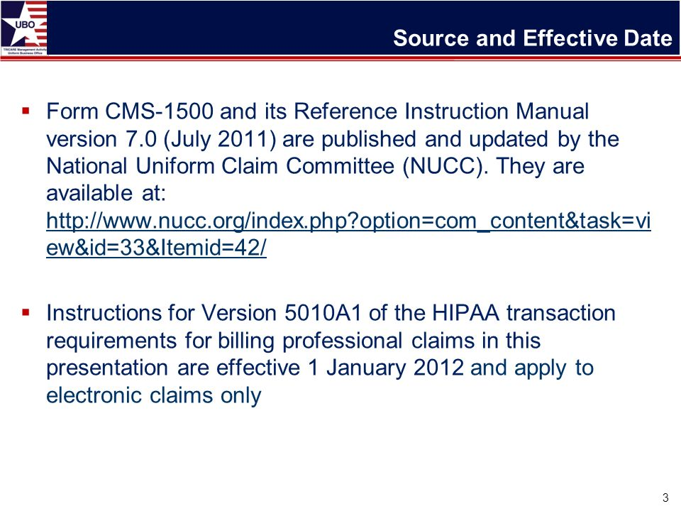 CMS-1500 Basics and 5010 Compliance Update for Billing Presented ...