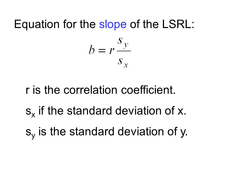 Equation for the slope of the LSRL: r is the correlation coefficient.