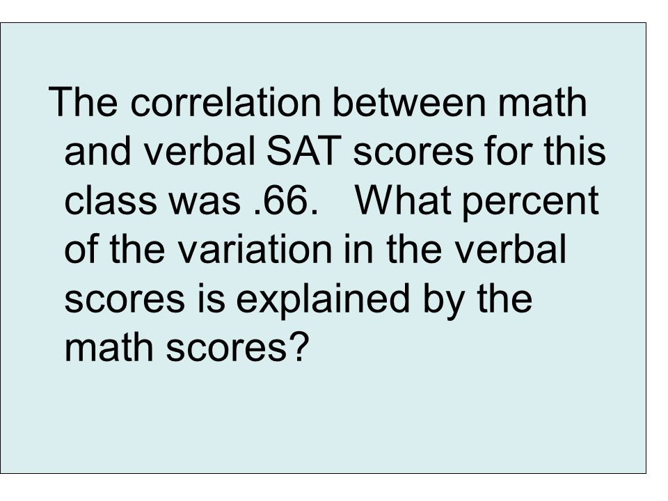 The correlation between math and verbal SAT scores for this class was.66.