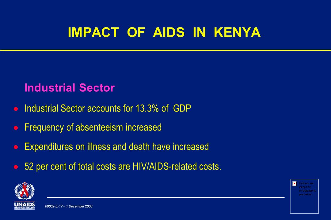 00002-E-17 – 1 December 2000 IMPACT OF AIDS IN KENYA Industrial Sector Industrial Sector accounts for 13.3% of GDP Frequency of absenteeism increased Expenditures on illness and death have increased l 52 per cent of total costs are HIV/AIDS-related costs.