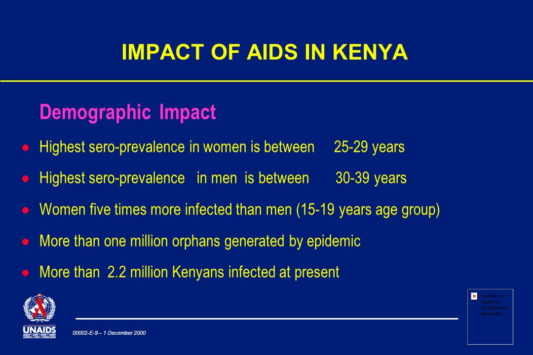 00002-E-9 – 1 December 2000 IMPACT OF AIDS IN KENYA Demographic Impact Highest sero-prevalence in women is between years Highest sero-prevalence in men is between years l Women five times more infected than men (15-19 years age group) l More than one million orphans generated by epidemic l More than 2.2 million Kenyans infected at present