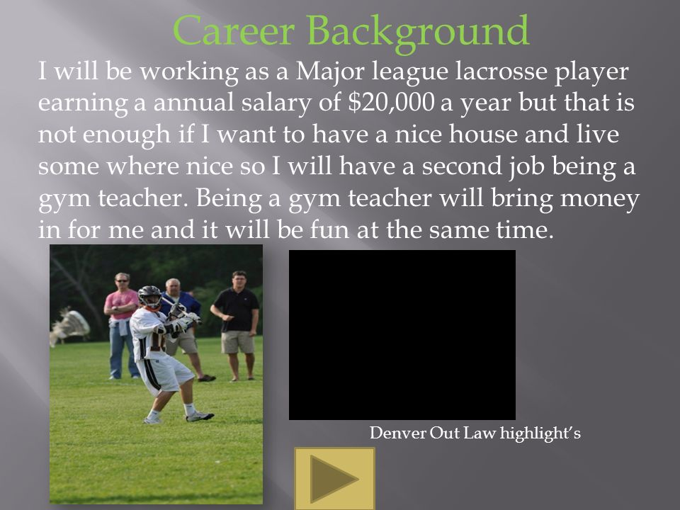 Career Background I will be working as a Major league lacrosse player earning a annual salary of $20,000 a year but that is not enough if I want to have a nice house and live some where nice so I will have a second job being a gym teacher.