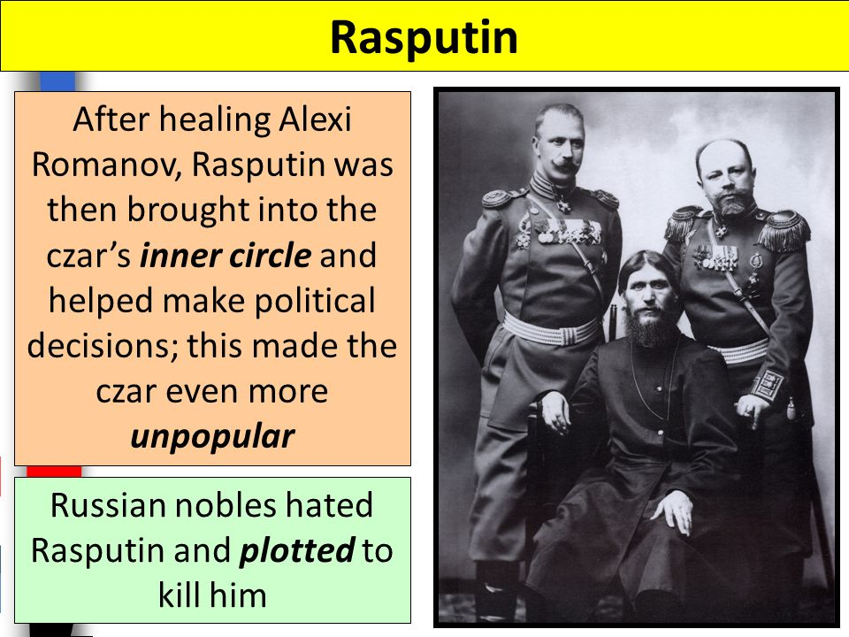 Rasputin Grigori Rasputin was an Orthodox monk who lived anything but a holy life (womanizer, heavy drinker); he claimed to have healing powers