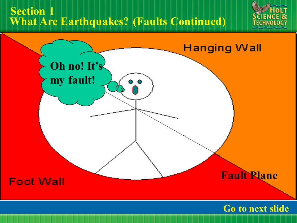 Earthquakes Section 1: What Are Earthquakes? Go to next slide This ...