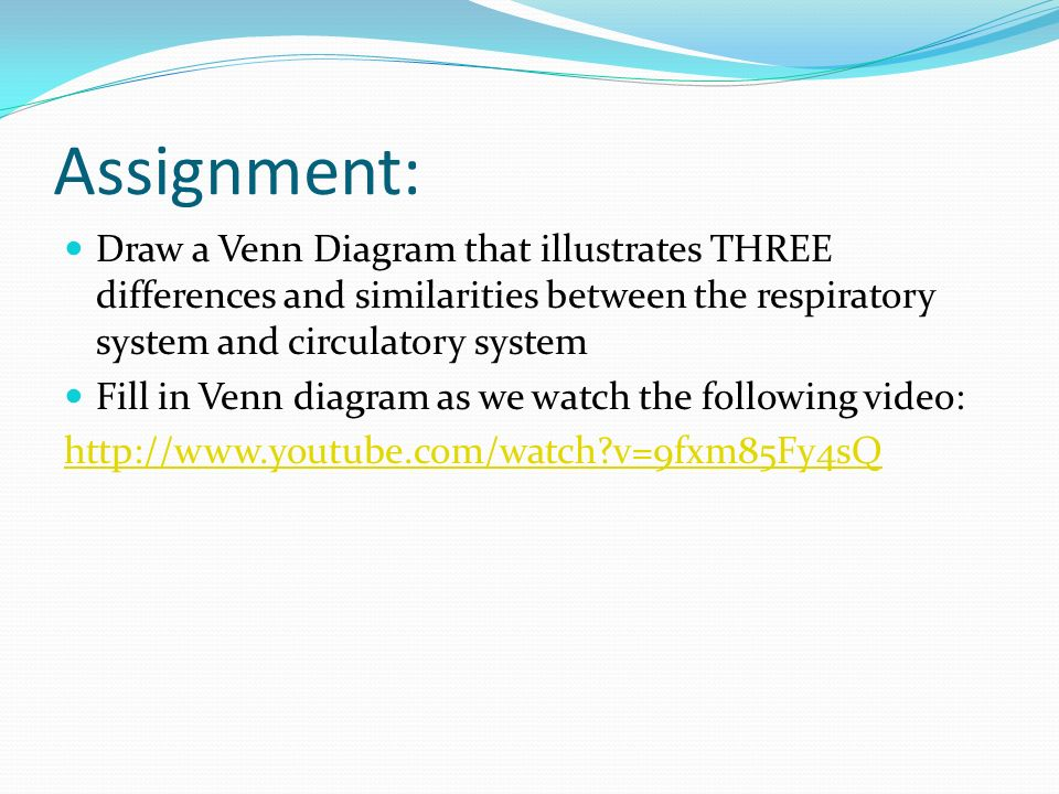 Assignment: Draw a Venn Diagram that illustrates THREE differences and similarities between the respiratory system and circulatory system Fill in Venn diagram as we watch the following video:   v=9fxm85Fy4sQ