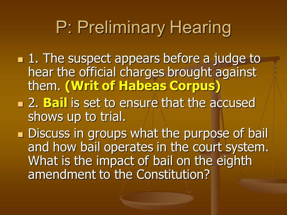 P: Preliminary Hearing 1.