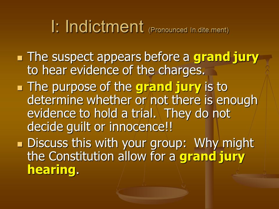 I: Indictment (Pronounced In.dite.ment) The suspect appears before a grand jury to hear evidence of the charges.