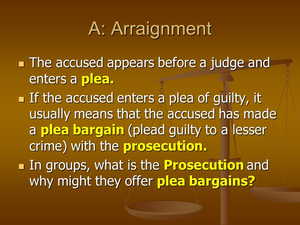 A: Arraignment The accused appears before a judge and enters a plea.