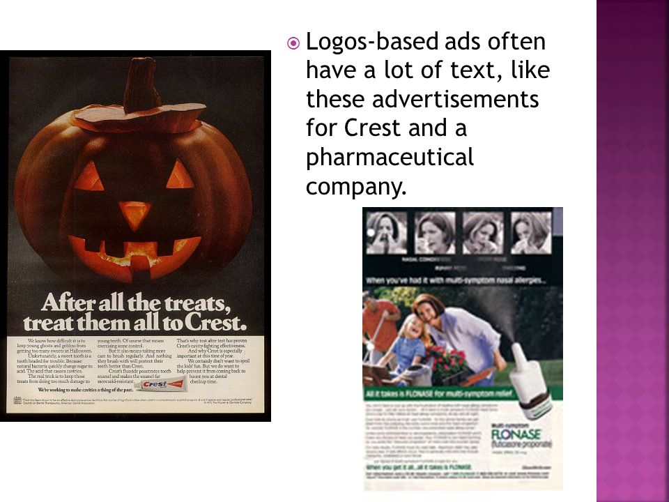  Logos-based ads often have a lot of text, like these advertisements for Crest and a pharmaceutical company.