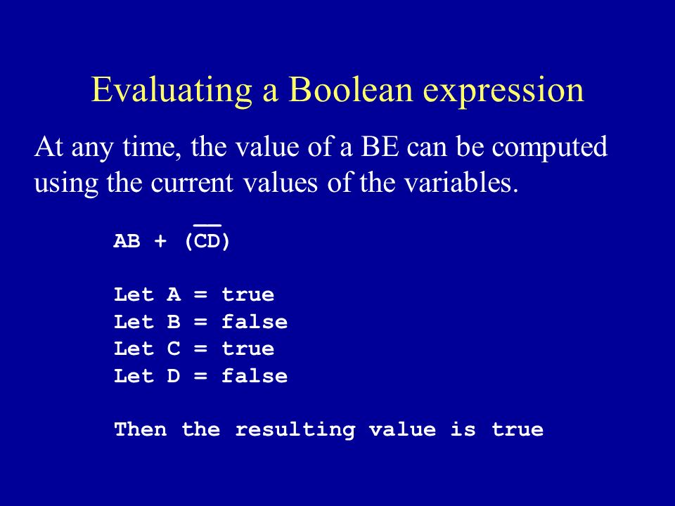 Evaluating a Boolean expression At any time, the value of a BE can be computed using the current values of the variables.