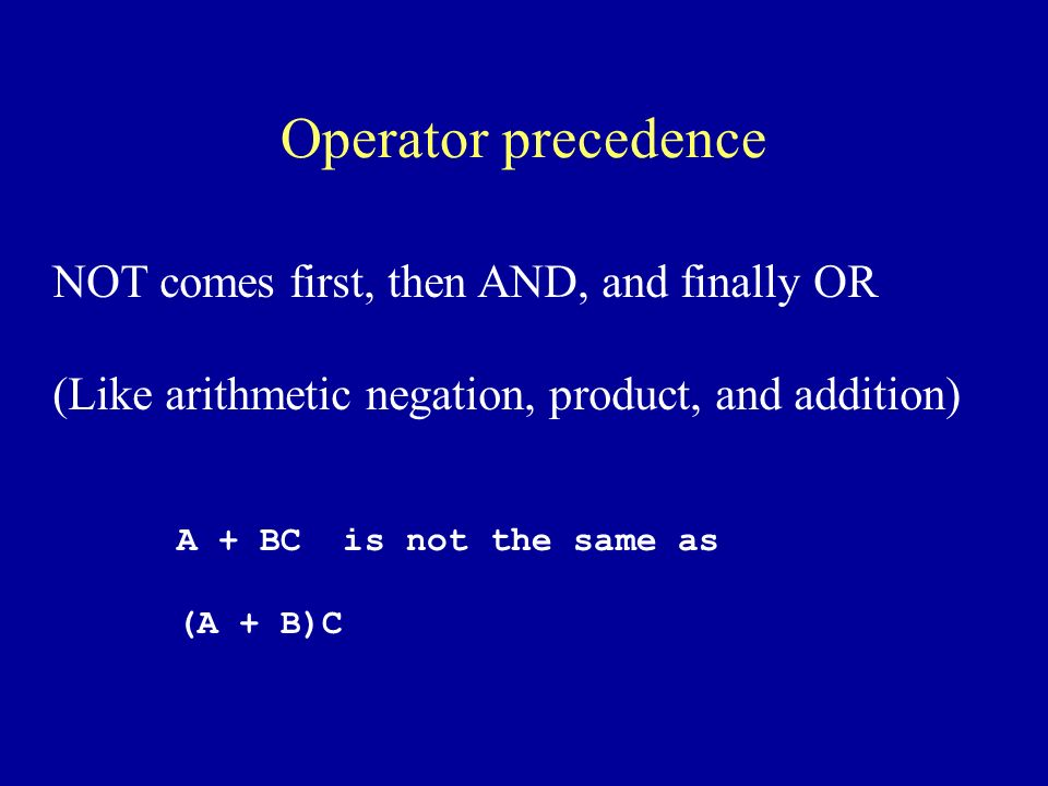 Operator precedence NOT comes first, then AND, and finally OR (Like arithmetic negation, product, and addition) A + BC is not the same as (A + B)C