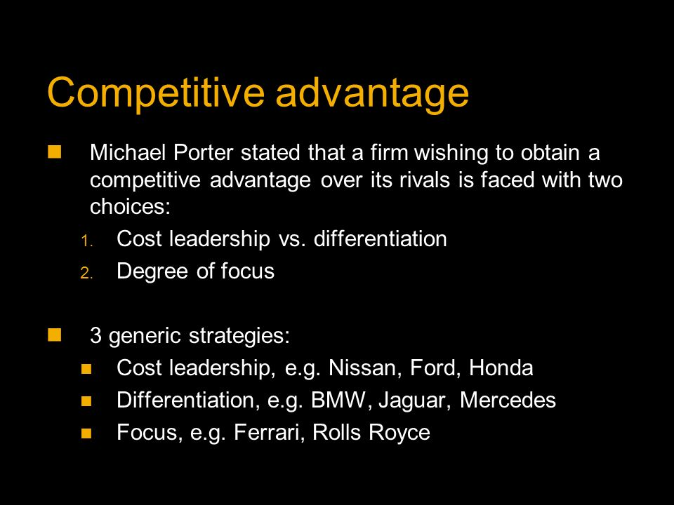 porters competitive advantage The porter diamond is a model that attempts to explain the competitive advantage some nations or groups have due to certain factors available to them.