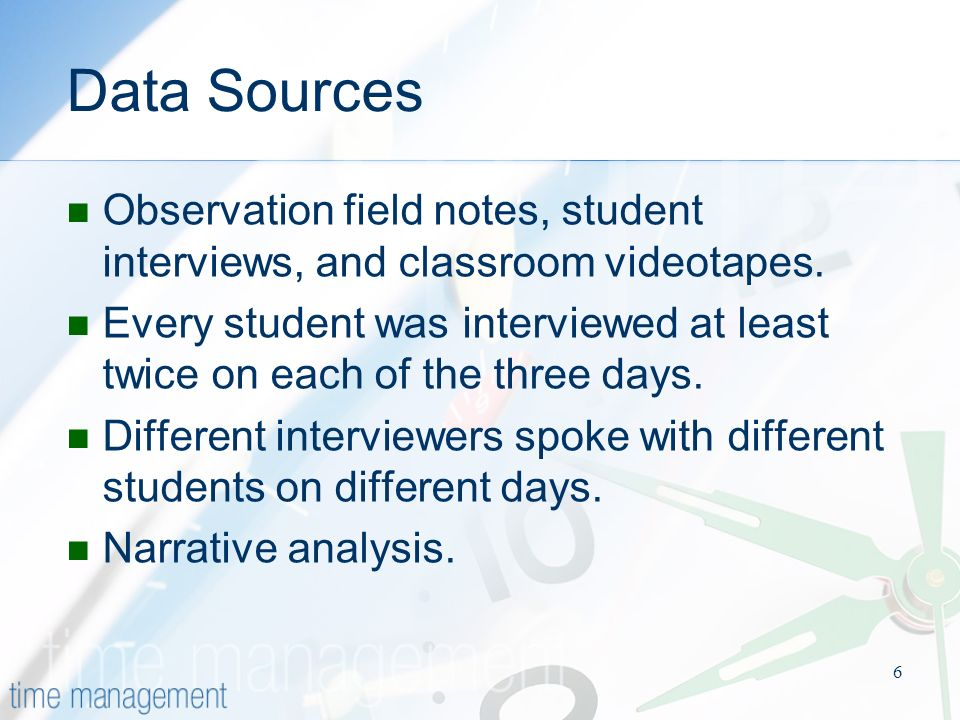 6 Data Sources Observation field notes, student interviews, and classroom videotapes.