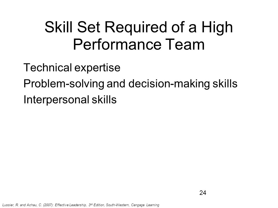 chapter team leadership summary of lecture group vs team 24 skill set required of a high performance team technical expertise problem solving and decision