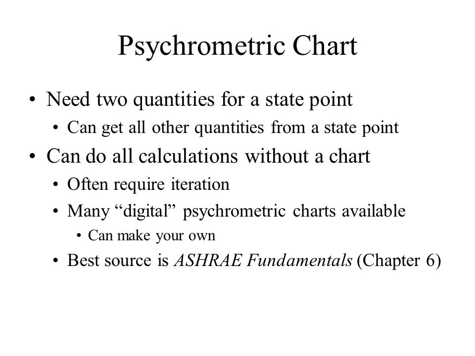 Objectives Define Psychrometric Quantities Continuation From