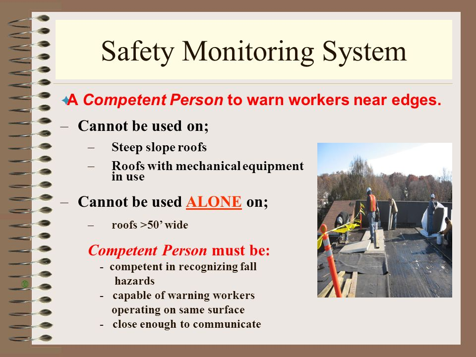 20 Safety Monitoring System A Petent Person To Warn Workers Near Edges  Cannot Be On Steep