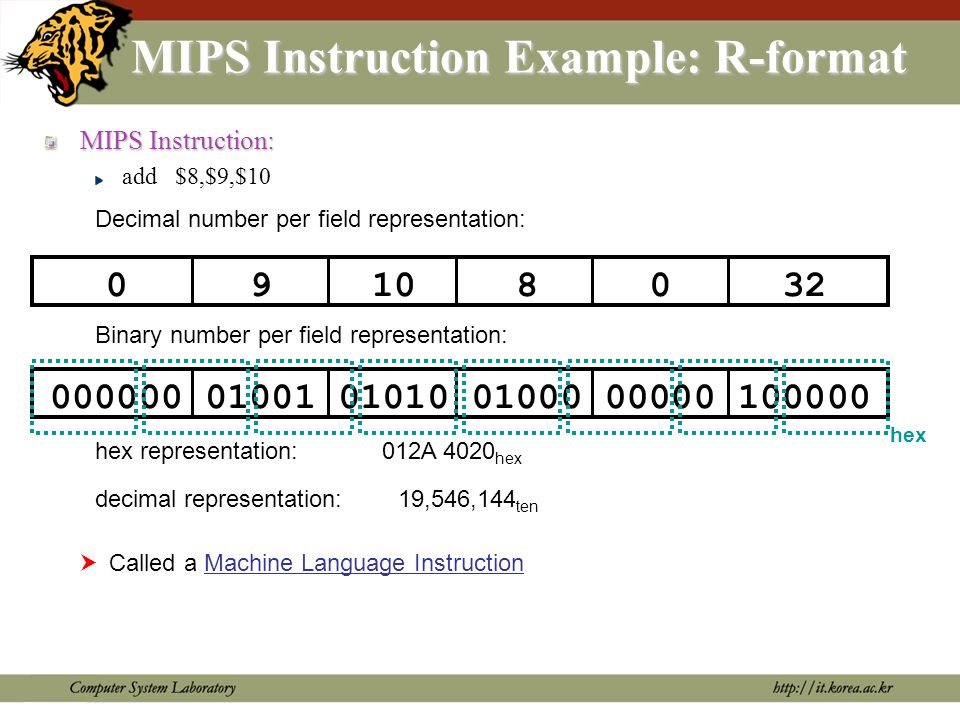 MIPS Instruction formats Arithmetic instructions Data transfer, conditional branch, immediate format instructions Jump instructions oprsrtrdshamtfunct 6 5 5 5 5 6 R-type oprsrt address/immediate 6 5 5 16 I-type opaddress 6 26 J-type