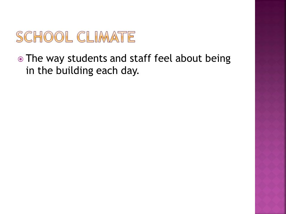  The way students and staff feel about being in the building each day.