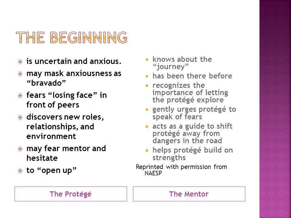 The ProtégéThe Mentor  is uncertain and anxious.