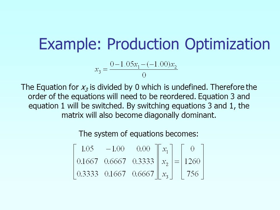 Example: Production Optimization The Equation for x 3 is divided by 0 which is undefined.