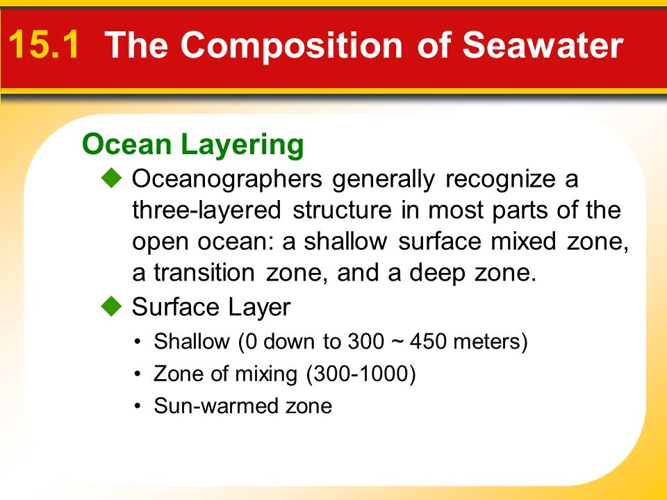 Ocean Layering  Oceanographers generally recognize a three-layered structure in most parts of the open ocean: a shallow surface mixed zone, a transition zone, and a deep zone.