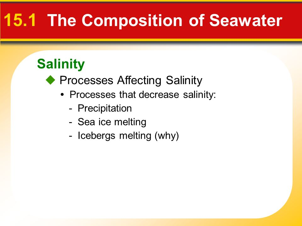 Salinity  Processes Affecting Salinity 15.1 The Composition of Seawater Processes that decrease salinity: - Precipitation - Icebergs melting (why) - Sea ice melting