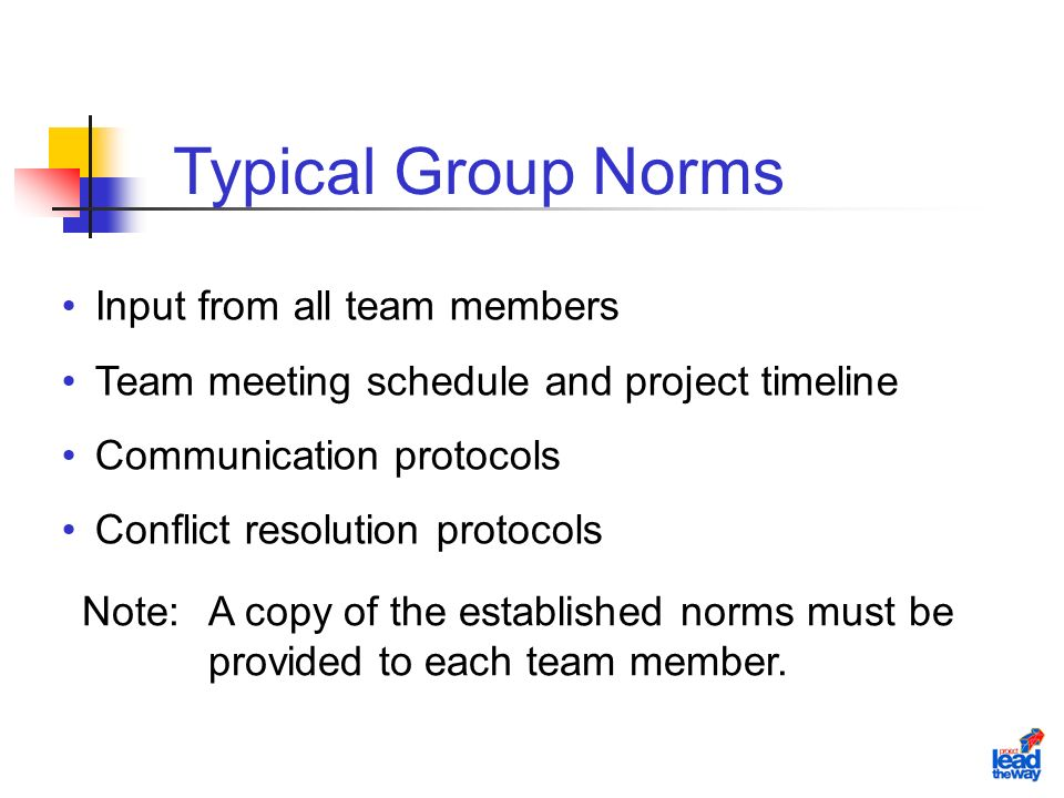 Input from all team members Team meeting schedule and project timeline Communication protocols Conflict resolution protocols Note:A copy of the established norms must be provided to each team member.