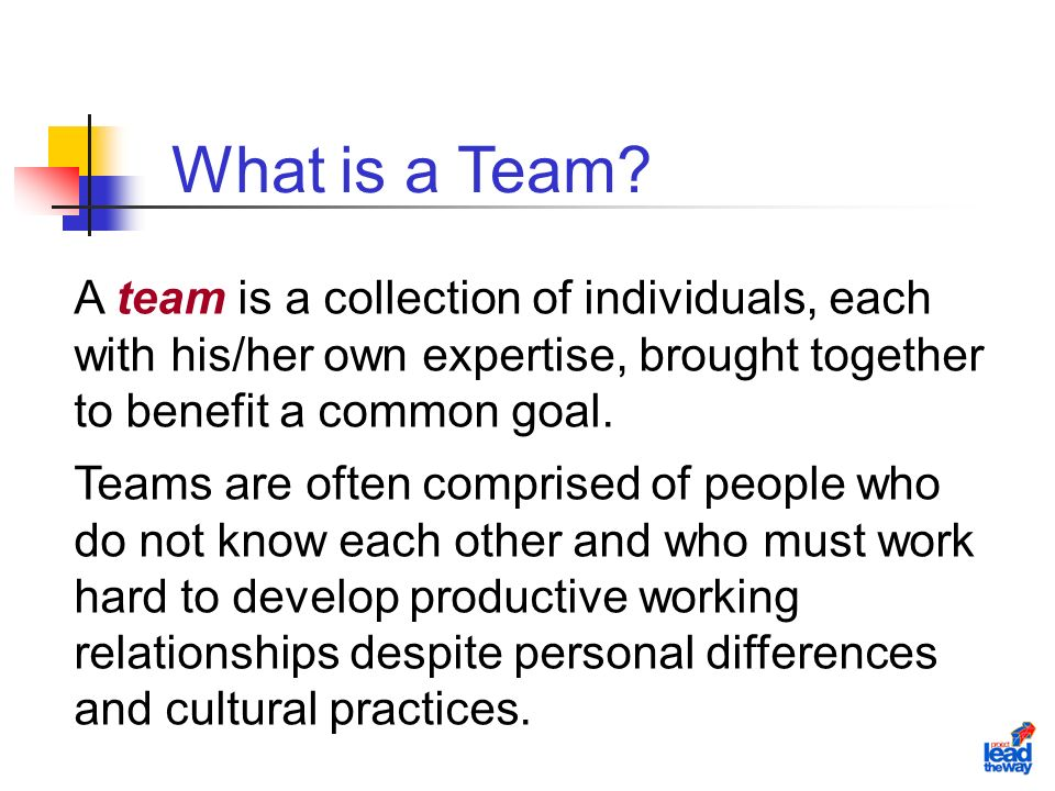 A team is a collection of individuals, each with his/her own expertise, brought together to benefit a common goal.