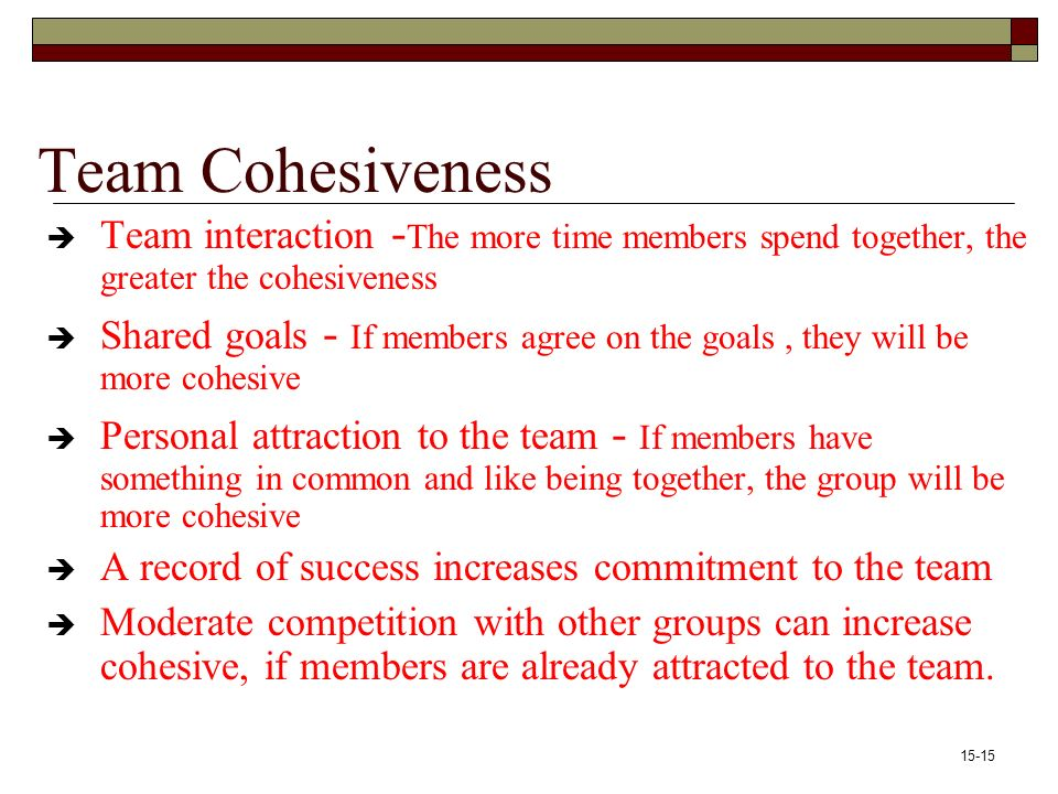 15-15 Team Cohesiveness  Team interaction - The more time members spend together, the greater the cohesiveness  Shared goals - If members agree on the goals, they will be more cohesive  Personal attraction to the team - If members have something in common and like being together, the group will be more cohesive  A record of success increases commitment to the team  Moderate competition with other groups can increase cohesive, if members are already attracted to the team.