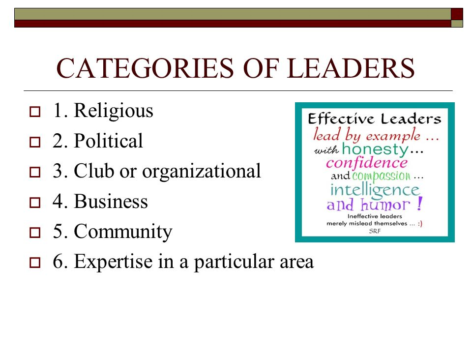 CATEGORIES OF LEADERS  1. Religious  2. Political  3. Club or organizational  4. Business  5. Community  6. Expertise in a particular area