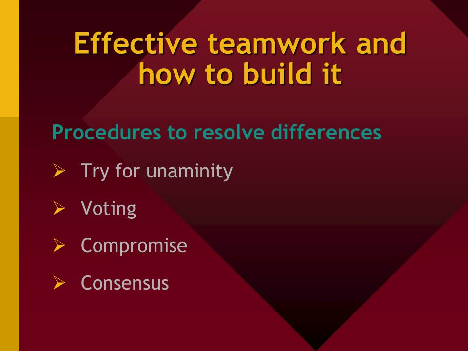 Effective teamwork and how to build it Procedures to resolve differences  Try for unaminity  Voting  Compromise  Consensus