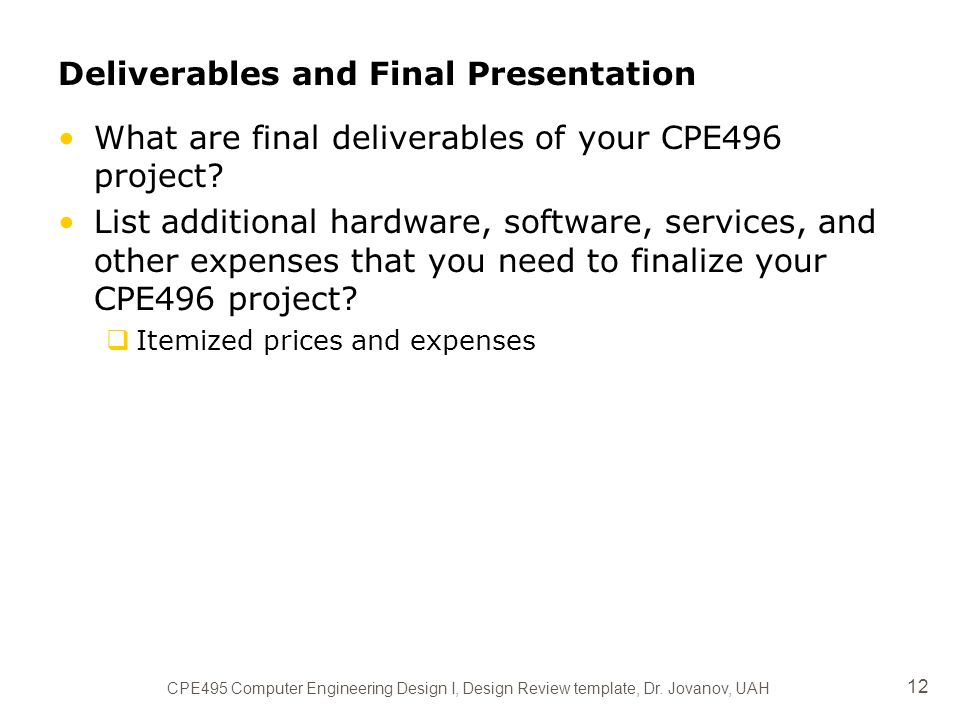 project title (as descriptive as possible) group members cpe495, Presentation templates