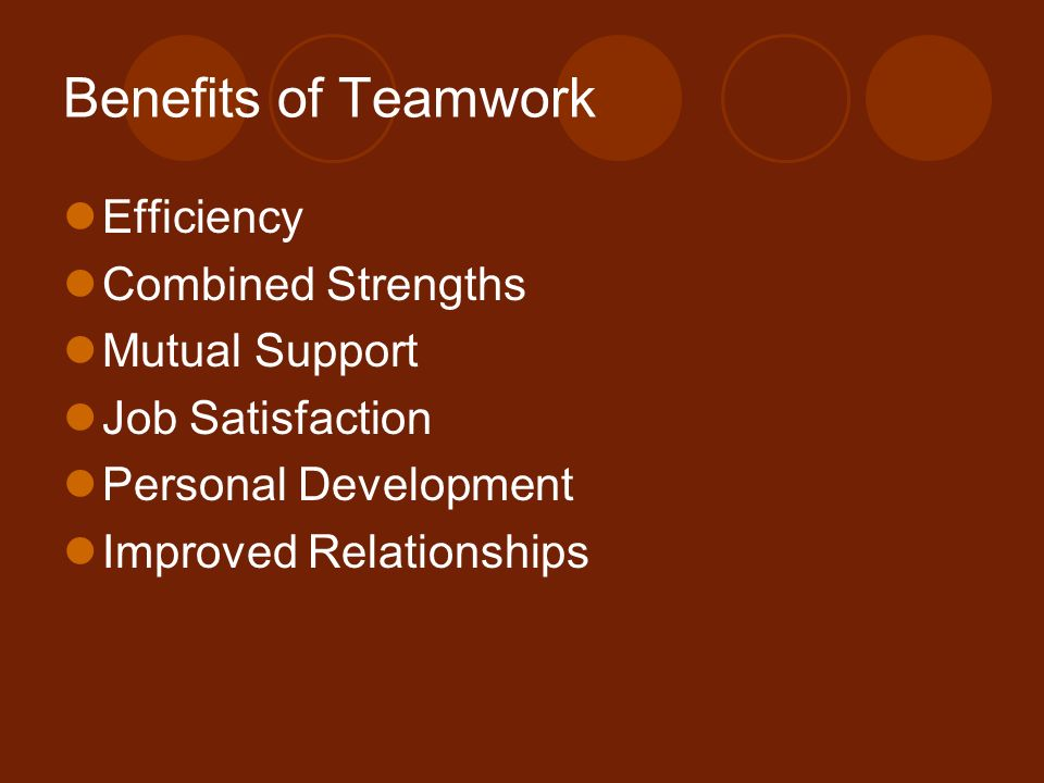 Benefits of Teamwork Efficiency Combined Strengths Mutual Support Job Satisfaction Personal Development Improved Relationships