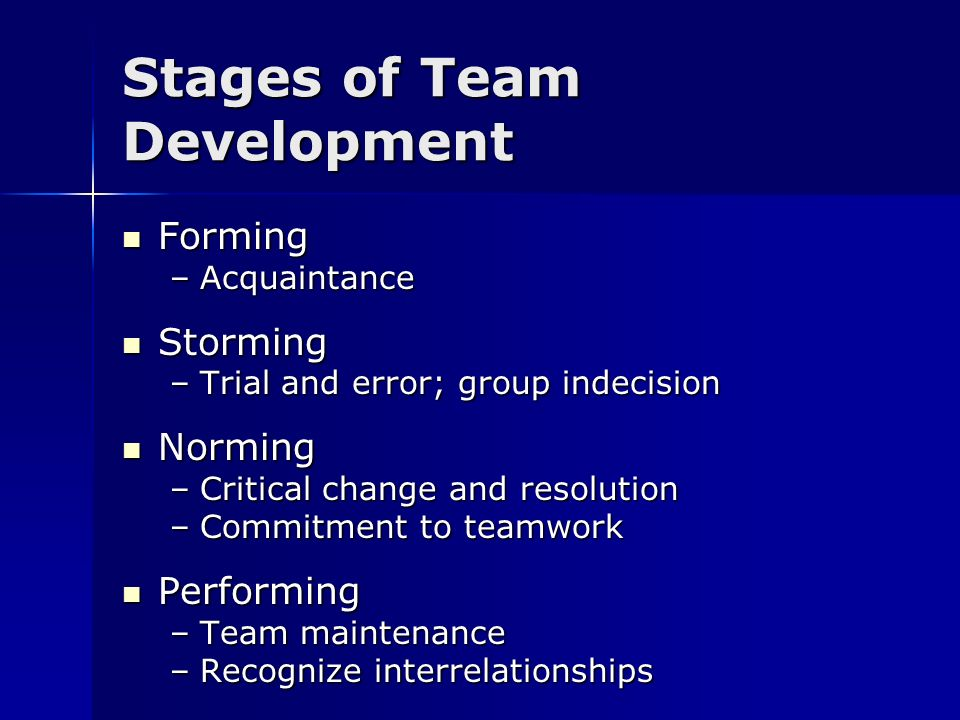Stages of Team Development Forming Forming –Acquaintance Storming Storming –Trial and error; group indecision Norming Norming –Critical change and res