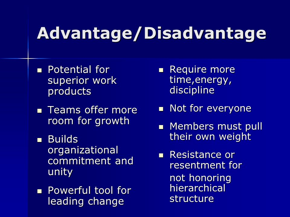 Advantage/Disadvantage Potential for superior work products Potential for superior work products Teams offer more room for growth Teams offer more roo