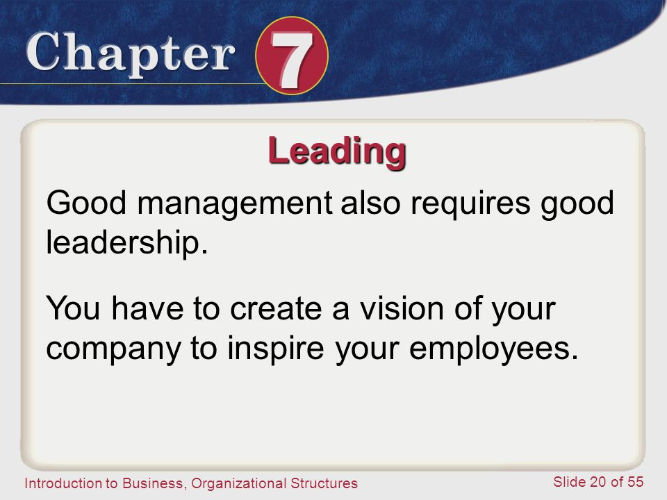 Introduction to Business, Organizational Structures Slide 20 of 55 Leading Good management also requires good leadership. You have to create a vision