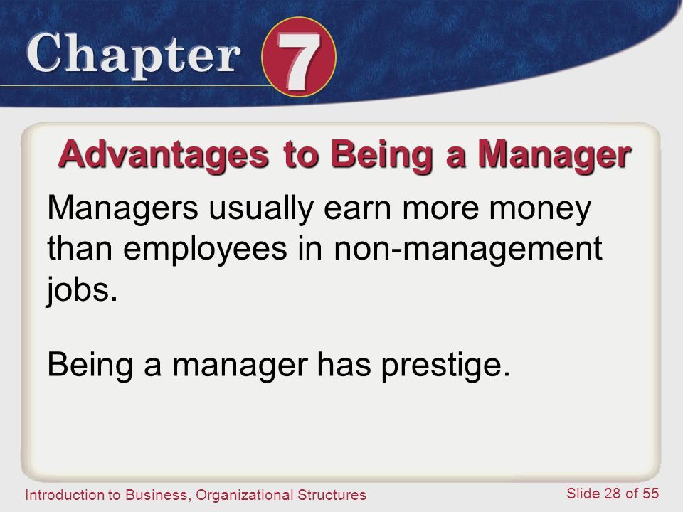 Introduction to Business, Organizational Structures Slide 28 of 55 Advantages to Being a Manager Managers usually earn more money than employees in no