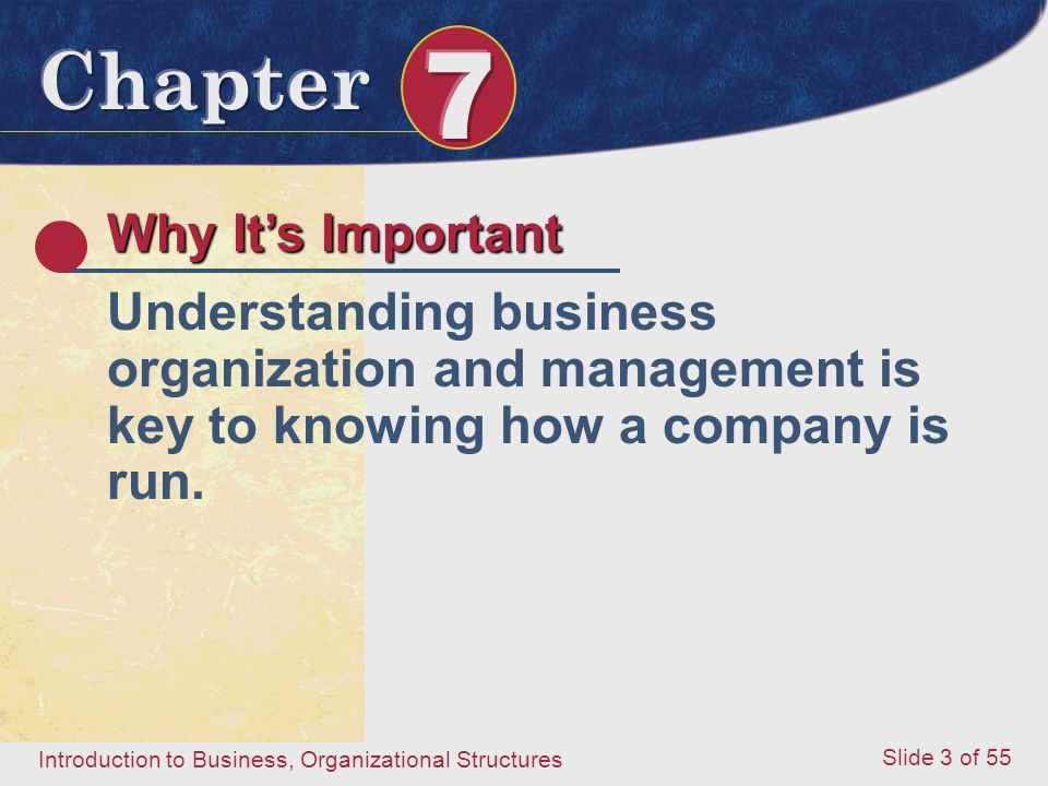 Introduction to Business, Organizational Structures Slide 3 of 55 Why It's Important Understanding business organization and management is key to know