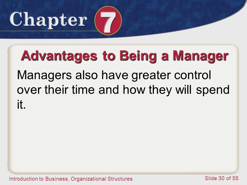 Introduction to Business, Organizational Structures Slide 30 of 55 Advantages to Being a Manager Managers also have greater control over their time an