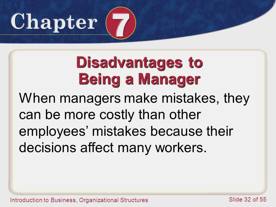 Introduction to Business, Organizational Structures Slide 32 of 55 Disadvantages to Being a Manager When managers make mistakes, they can be more cost