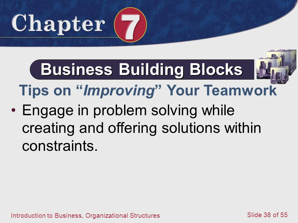 Introduction to Business, Organizational Structures Slide 38 of 55 Engage in problem solving while creating and offering solutions within constraints.