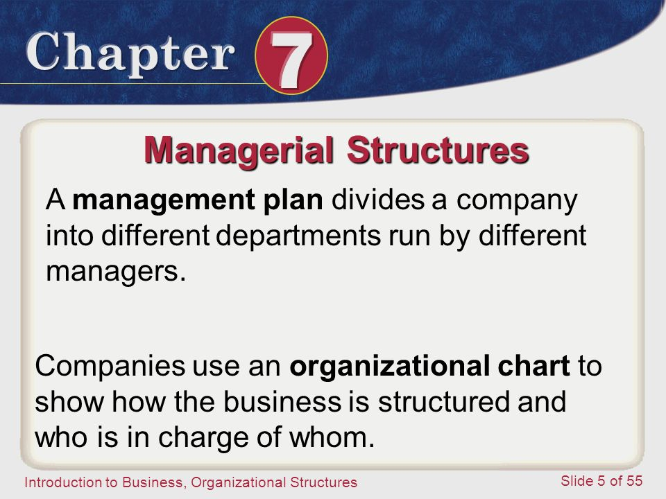Introduction to Business, Organizational Structures Slide 5 of 55 Managerial Structures A management plan divides a company into different departments
