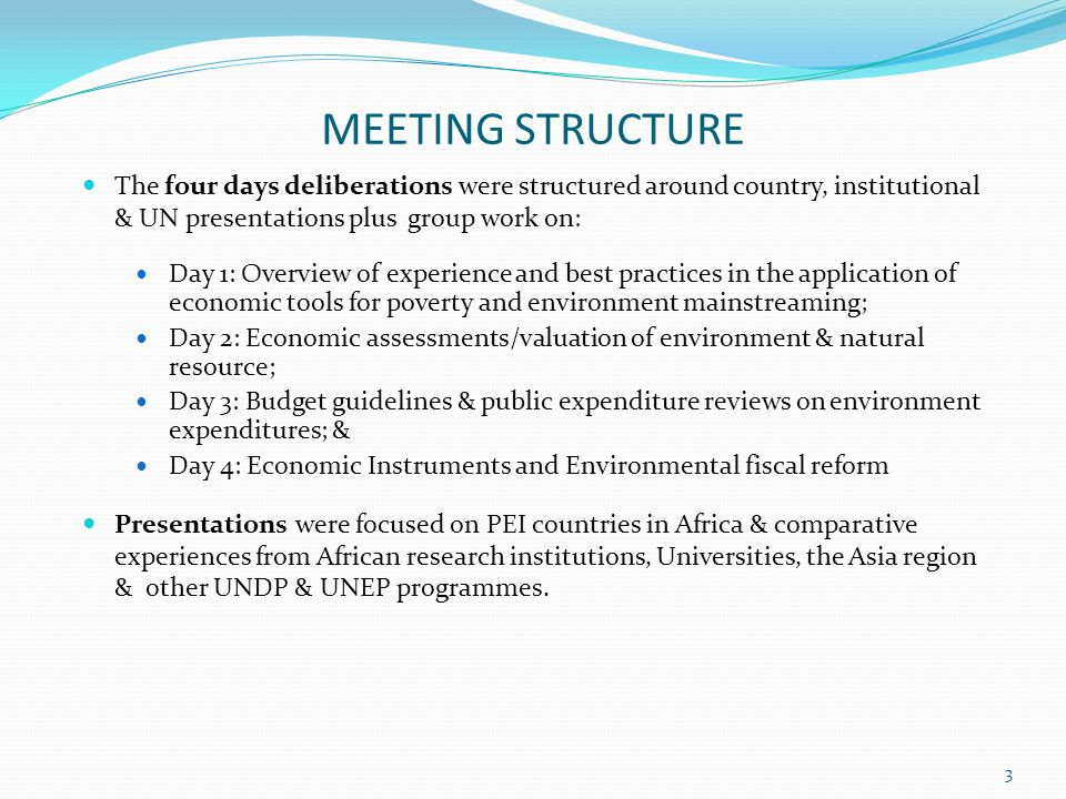 MEETING STRUCTURE The four days deliberations were structured around country, institutional & UN presentations plus group work on: Day 1: Overview of experience and best practices in the application of economic tools for poverty and environment mainstreaming; Day 2: Economic assessments/valuation of environment & natural resource; Day 3: Budget guidelines & public expenditure reviews on environment expenditures; & Day 4: Economic Instruments and Environmental fiscal reform Presentations were focused on PEI countries in Africa & comparative experiences from African research institutions, Universities, the Asia region & other UNDP & UNEP programmes.