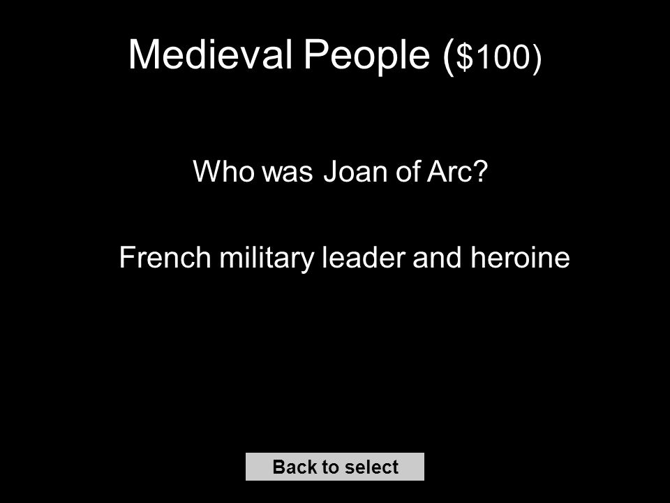 Middle Ages Vocabulary ($500) Back to select What is a troubadour A medieval poet-musician