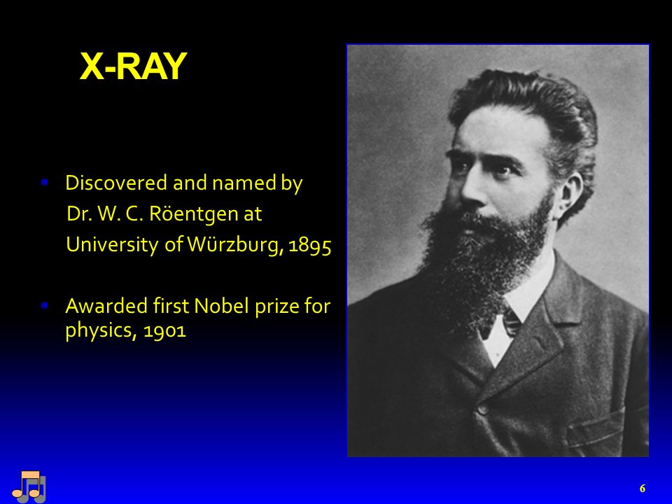 X-RAY  Discovered and named by Dr. W. C.