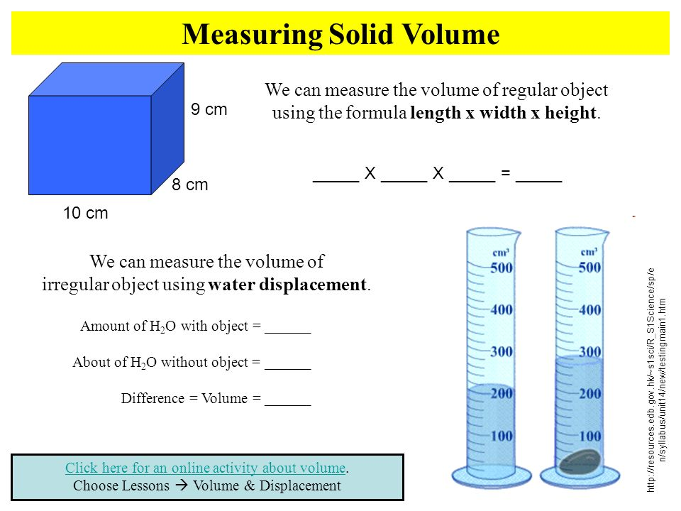 Measuring Solid Volume Click here for an online activity about volumeClick here for an online activity about volume.
