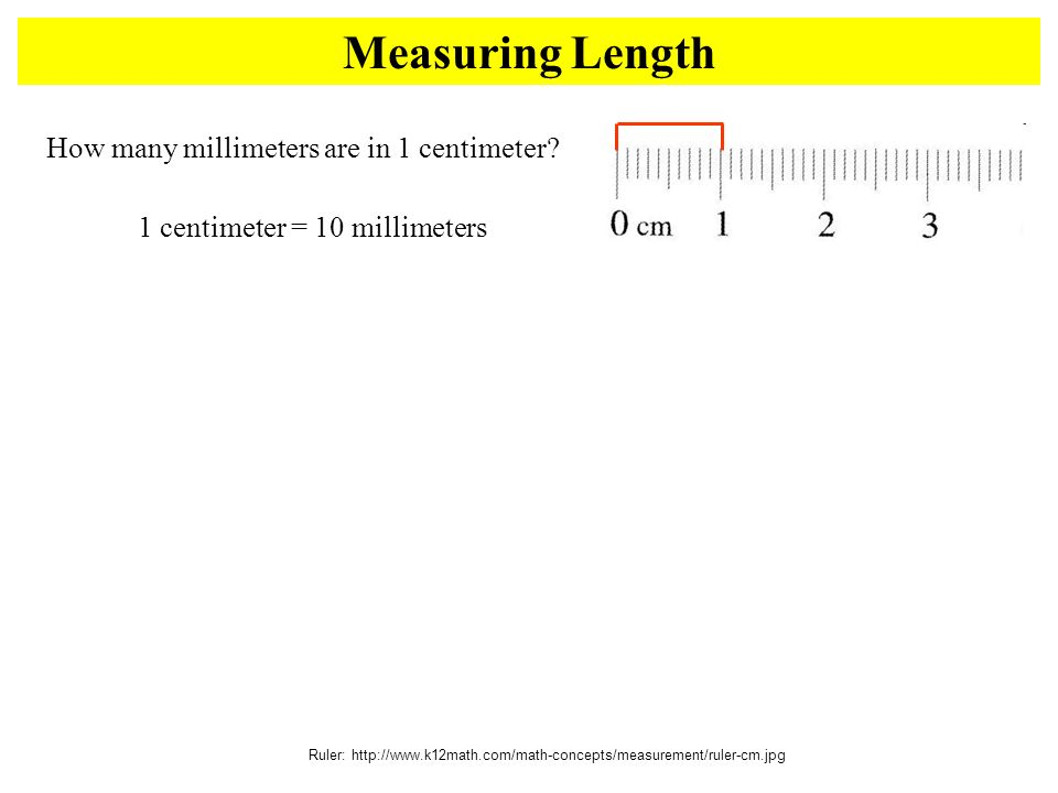 Measuring Length Ruler:   How many millimeters are in 1 centimeter.