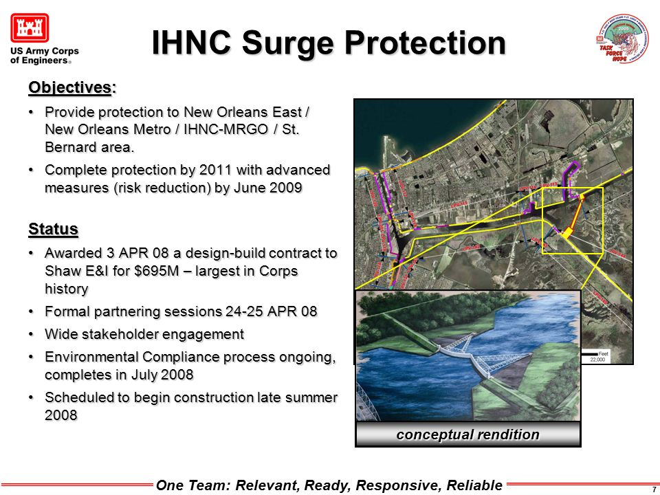 One Team: Relevant, Ready, Responsive, Reliable 7 IHNC Surge Protection Objectives: Provide protection to New Orleans East / New Orleans Metro / IHNC-MRGO / St.
