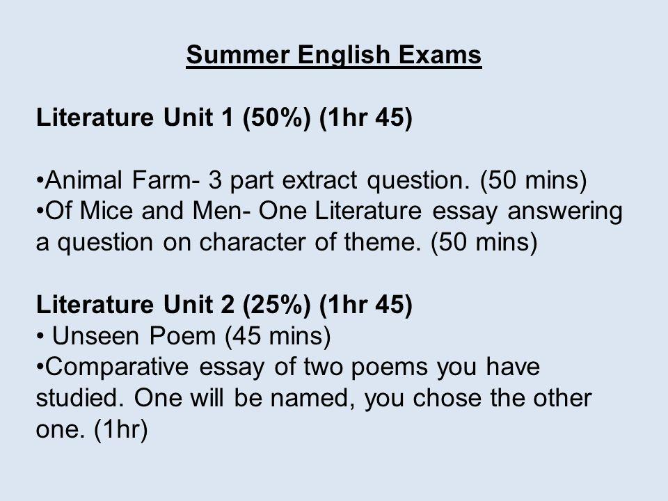 english exams you have coming up mocks literature unit of  summer english exams literature unit 1 50% 1hr 45 animal farm